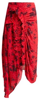 Preen Line Yuna Ruched Floral Print Crepe Skirt - Womens - Red Multi