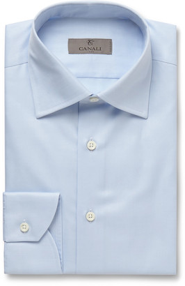 Canali White Slim-Fit Cotton-Twill Shirt - Men - Blue
