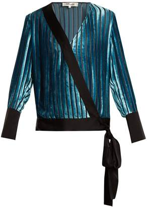 Diane von Furstenberg Crossover-front striped velvet top