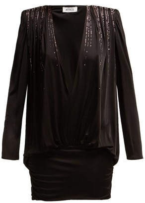 ATTICO The Crystal Embellished Stretch Jersey Mini Dress - Womens - Black