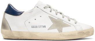 Golden Goose White & Navy Superstar Sneakers $415 thestylecure.com