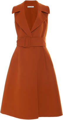 Oscar de la Renta Belted Wool And Cashmere Midi Wrap Dress