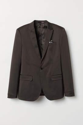 H&M Skinny Fit Satin Blazer - Black