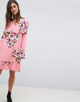 Vila Soft Floral Ruffle Midi Dress