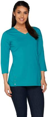 Denim & Co. Essentials Long Sleeve Top with Button Details