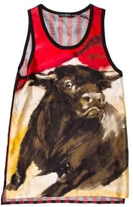 Dolce & Gabbana Bull Printed Silk Tank Top