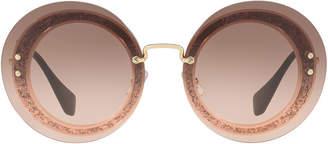 Miu Miu Mu 10rs 64 Pink Round Sunglasses