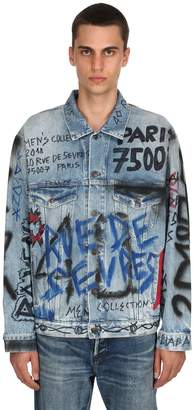 Balenciaga Graffiti Printed Cotton Denim Jacket
