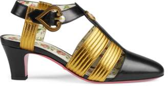 Gucci Leather mid-heel t-strap sandal
