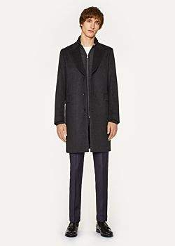 Paul Smith Men's Dark Grey Wool And Cashmere-Blend Peak-Lapel Epsom Coat