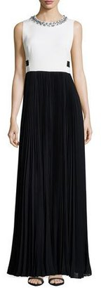 Rebecca Taylor Sleeveless Combo Pleated-Skirt Long Dress $795 thestylecure.com