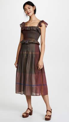 Sea Flutter Sleeve Smocked Dress