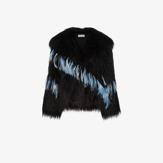 Dries Van Noten feather embellished faux shearling jacket