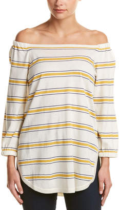 Cullen Stripe Bardot Silk & Cashmere-Blend Top