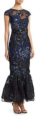 David Meister Women's Floral-Embroidered Mermaid Gown