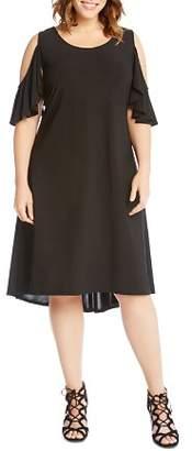 Karen Kane Plus Cold-Shoulder High/Low Dress