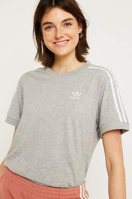 adidas Grey 3-Stripe T-Shirt