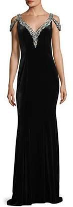 Jovani V-Neck Jeweled Velvet Evening Gown