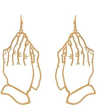 Simone Rocha gold metallic praying hands earrings