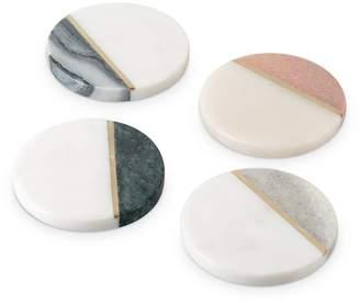 Oliver Bonas Kinship Marble & Brass Coasters Set of Four