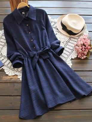 Shein Bow Tie Elastic Waist Check Shirt Dress