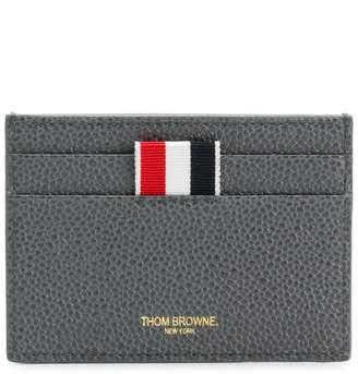 Thom Browne Diagonal Intarsia Stripe Single Cardholder In Pebble Grain Leather