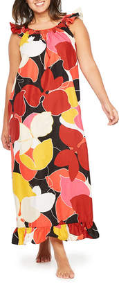 JCPenney TRACEE ELLIS ROSS FOR Tracee Ellis Ross for JCP Poplin Scoop Neck Floral Nightgown