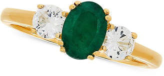 Macy's Emerald (3/4 ct. t.w.) & White Sapphire (5/8 ct. t.w.) Ring in 14k Gold