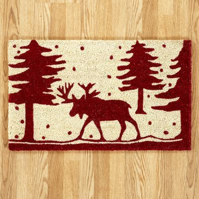 Moose and Christmas Tree Doormat