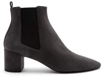 Saint Laurent Loulou Suede Chelsea Boots - Womens - Dark Grey