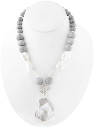 Barse Sterling Silver Agate & Crystal Beaded Rosary Necklace