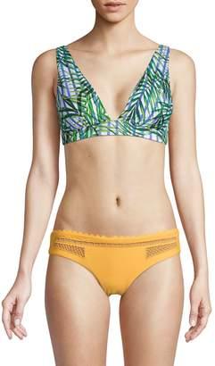 Red Carter Palm-Print Plunge Bikini Top