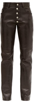 Martine Rose Braid Pocket Leather Straight Leg Trousers - Womens - Black