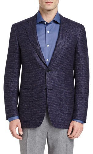 Canali Canali Tic Two-Button Sport Coat, Navy/Plum