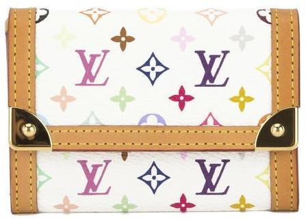 Louis VuittonLouis Vuitton White Monogram Multicolore Porte-Monnaie Plat Coin Case (Pre Owned)