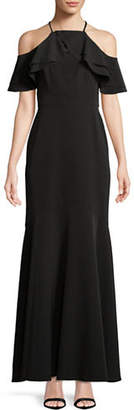 Nicole Miller NEW YORK Ruffled Cold-Shoulder Gown