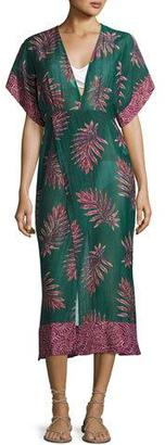 Vix Leaves Dione Caftan Coverup, Blue-Green $228 thestylecure.com