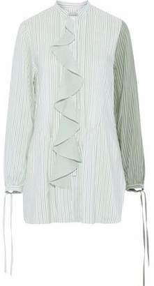 J.W.Anderson Ruffle-Trimmed Pintucked Striped Silk Shirt