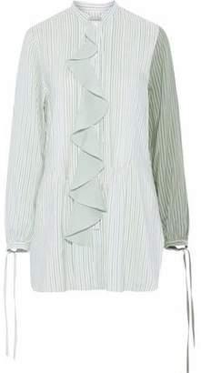 J.W.Anderson Ruffle-Trimmed Pinstriped Silk Tunic