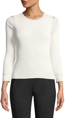 Giorgio Armani 3/4-Sleeve Viscose Knit Top, White
