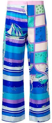 Emilio Pucci seaside-print cropped trousers