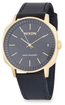 Nixon Regent II Leather-Strap Watch