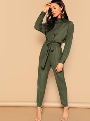Shein Drop Shoulder Asymmetrical Button Front Belted Jumpsuit