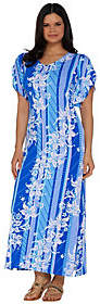 Bob Mackie Bob Mackie's Floral Printed Tulip Sleeve KnitMaxi Dress