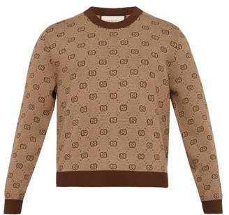Gucci Gg Jacquard Cropped Wool Blend Sweater - Mens - Brown