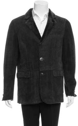Giorgio Armani Shearling Notch-Lapel Jacket