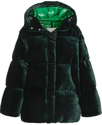 Moncler Quilted Velvet Down Jacket - Dark green