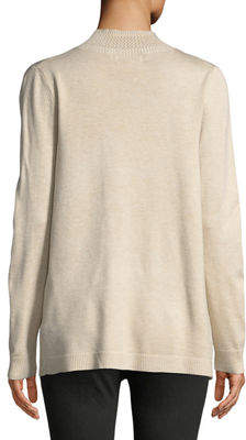 Neiman Marcus Open Front Novelty-Stitch Cardigan