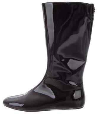 Burberry Patent Leather Round-Toe Boots