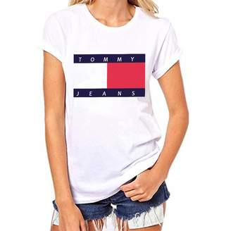 Tommy Jeans Qian Mei Women's Short Sleeve T-Shirt Juniors Tops Teen Girl Tee(M, 3)